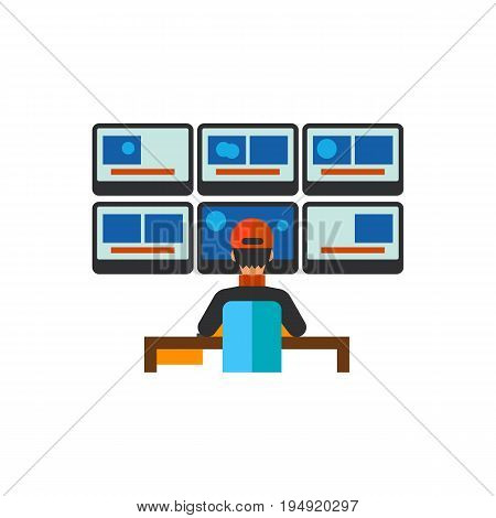 Icon of security room. Monitors, workplace, watching. Security concept. Can be used for topics like control, security guard or surveillance