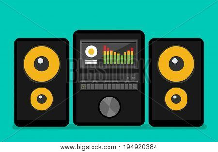 Home stereo flat vector music systems set