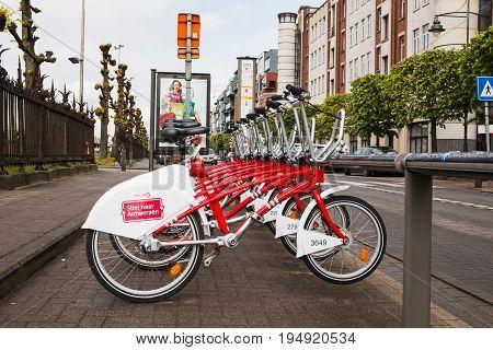 Bikes On The Street Of Antwerp In 2017