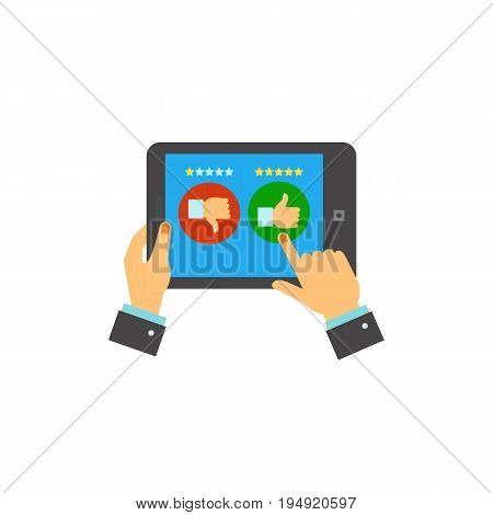 Icon of hand voting via application. Opinion, review, support. Measurement concept. Can be used for topics like feedback, website rating, quality