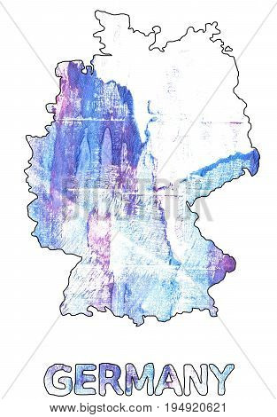 Hand-drawn abstract watercolor. Germany map outline. Used colors: White Azureish white Lavender blue Baby powder Diamond Maximum Blue Purple Lotion Pale cornflower blue Vista blue.