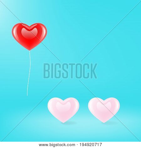 vector Three hearts icon, glossy red pink pastel color heart shaped balloon on blue color background, beautiful illustration minimalist copy space, lover is concept.