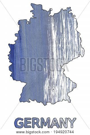 Hand-drawn abstract watercolor. Germany map outline. Used colors: Shadow blue White Light slate gray Cool grey Rhythm Slate gray Glaucous Roman silver Manatee Dark blue-gray.