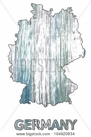 Hand-drawn abstract watercolor. Germany map outline. Used colors: White Roman silver Spanish gray Ghost white Gray Philippine gray Cadet grey Morning blue Slate gray Weldon Blue.