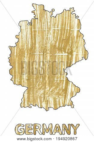 Hand-drawn abstract watercolor background. Germany map outline. Used colors: Aztec Gold Vegas gold Gold White Earth yellow Metallic Sunburst Bronze Fawn Burlywood Flax Middle Yellow Red.