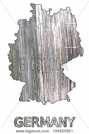 Hand-drawn abstract watercolor background. Germany map outline. Used colors: Spanish gray White Philippine gray Gray Quick Silver Sonic silver Nickel Dim gray Granite Gray Philippine silver.