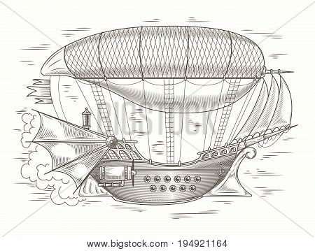 Vector steampunk illustration of a fantastic wooden flying ship in the style of engraving. Print, template, design element