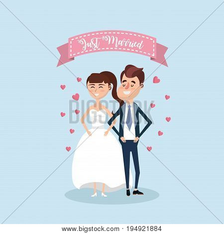 just married couple with ribbon design vector illustration