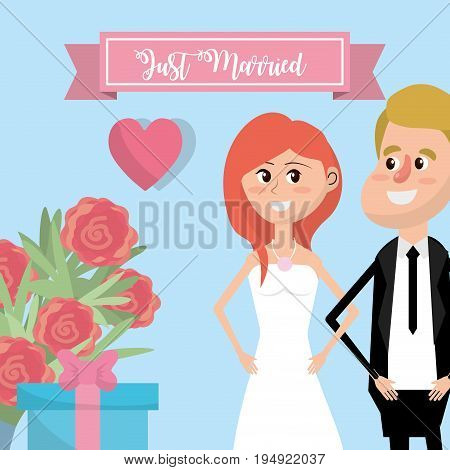 couple married with flowers and ribbon design vector illustration