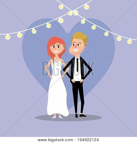 couple married with lights decoration design vector illustration