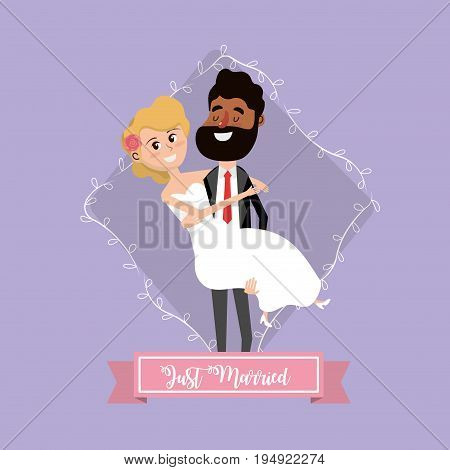 couple married with branch and ribbon design vector illustration