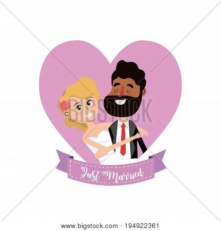 married couple inside of heart and ribbon design vector illustration