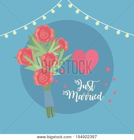 just married celebration with bouquet and hearts vector illustration