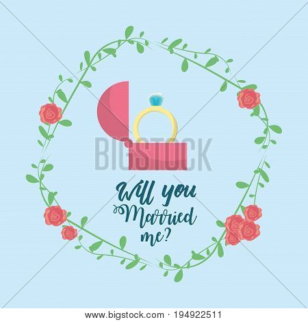 just married with ring and branch decoration vector illustration
