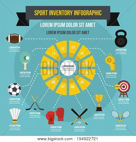 Sport inventory infographic banner concept. Flat illustration of sport inventory infographic vector poster concept for web
