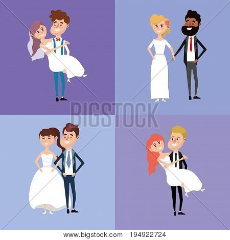 set bried and groom marry style vector illustration