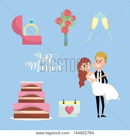 set just married with things to ceremony vector illustration