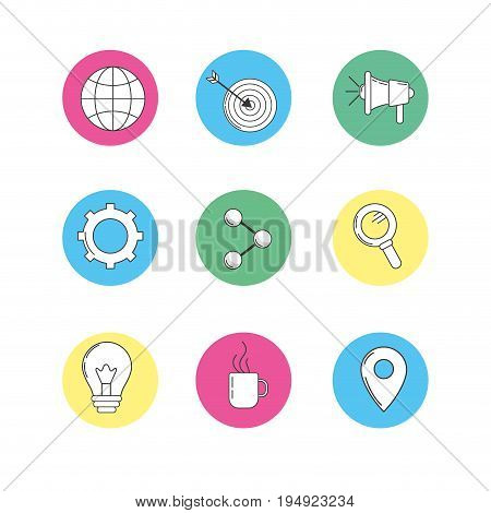 set technology icons to company information vector illustration