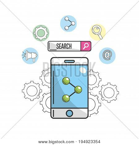 smartphone with share icon to company information vector illustration