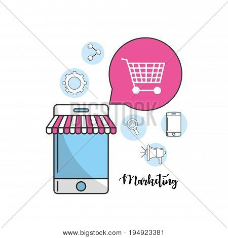 smartphone with marketing icons information vector illustration