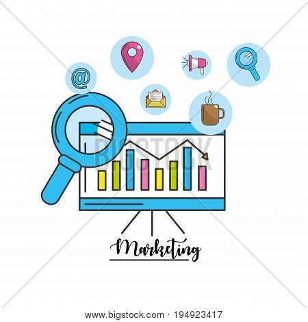 statistic information with technology tools icon vector illustration