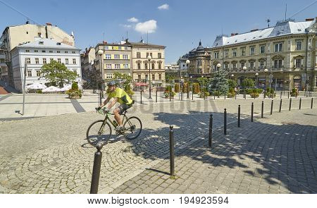 Bielsko Biala, Poland - July 2, 2017: Square In Front Of The Sul