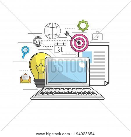 computer to marketing business and technology icons vector illustration