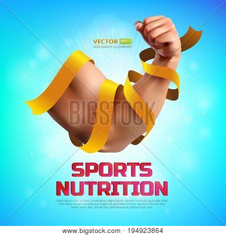 Sports nutrition vector illustration. Biceps of a strong man wrapped in a gold ribbon on colorful background