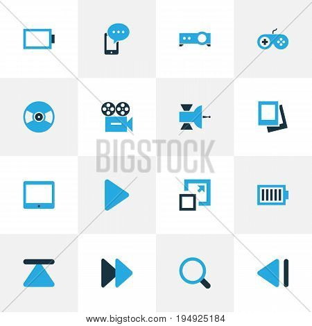 Media Colorful Icons Set. Collection Of Video, Presentation, Mobile Content And Other Elements. Also Includes Symbols Such As Palmtop, Next, Joystick.
