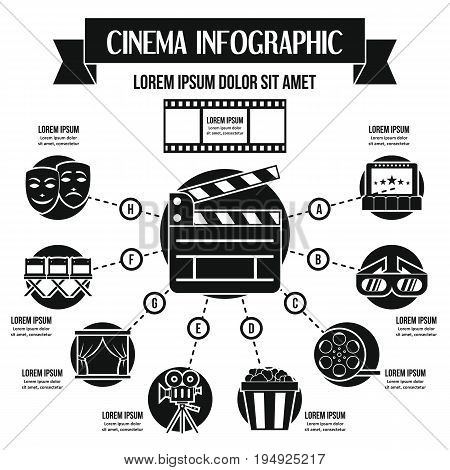 Cinema infographic banner concept. Simple illustration of cinema infographic vector poster concept for web