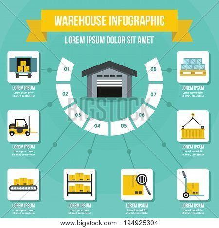 Warehouse infographic banner concept. Flat illustration of warehouse infographic vector poster concept for web