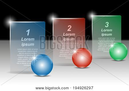 Set of color balls and transparent banners for text. Vector illustration EPS10 for infographic template presentations brochures flyer banner website