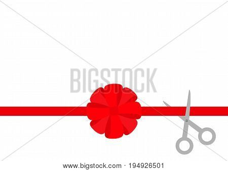 Scissors cut straight red ribbon. Big round bow. Business beginnings event. Launch startup concept. Grand opening celebration sign symbol. Flat design style. White background. Isolated. Vector
