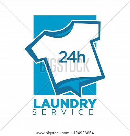 Vector illustration of white t-shirt as twenty four hours laundry logo.