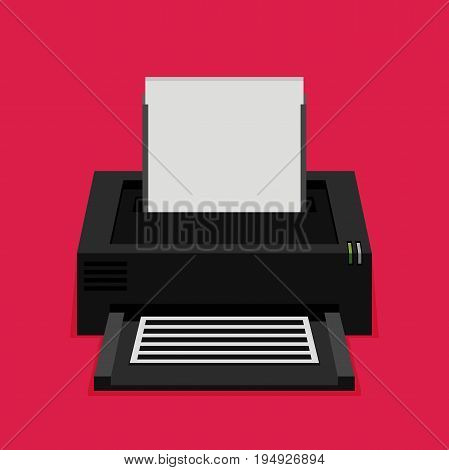 Flat printer icon vector isolated on color background