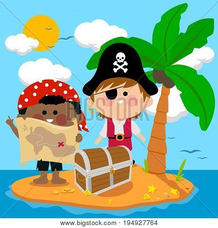 Pirates on a deserted treasure island. Vector illustration