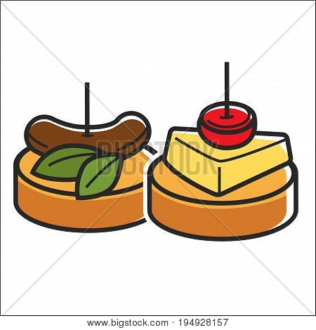 Vector illustration of two small snacks appetizers isolated on white.