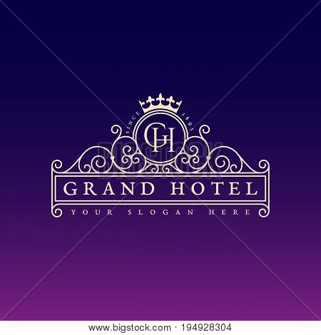 Flourishes luxury elegant ornament label template with crown in trendy linear style. Vector illustration.