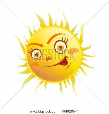 Vector illustration of happy excited sun character isolated on white.