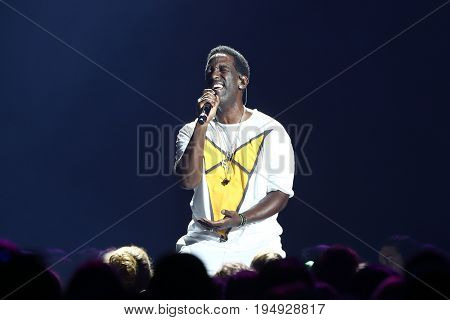 NEW YORK-JUL 7: Shawn Stockman of Boyz II Men performs during The Total Package Tour at NYCB Live at the Nassau Veterans Memorial Coliseum on July 7, 2017 in Uniondale, New York.
