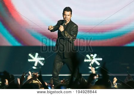 NEW YORK-JUL 7: Jordan Knight of New Kids on the Block perform during The Total Package Tour at NYCB Live at the Nassau Veterans Memorial Coliseum on July 7, 2017 in Uniondale, New York.