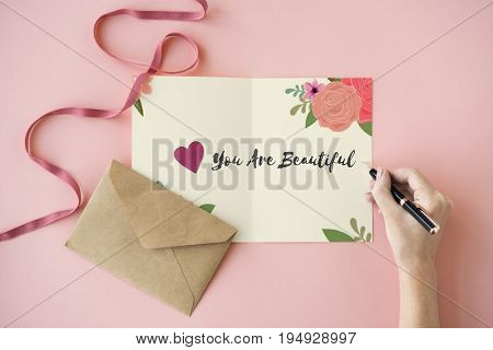 You Are Beautiful Love Letter Message Words Graphic