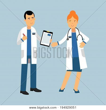 Two doctors characters in a white coats standing and discussing health care, medical care vector Illustration on a light blue background