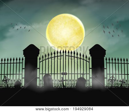 silhouette cemetery graveyard gate with moon at night