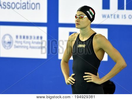 Hong Kong China - Oct 30 2016. Competitive swimmer Zsuzsanna JAKABOS (HUN) at the start of the Women's 400m Freestyle Preliminary Heat. FINA Swimming World Cup Victoria Park Swimming Pool.