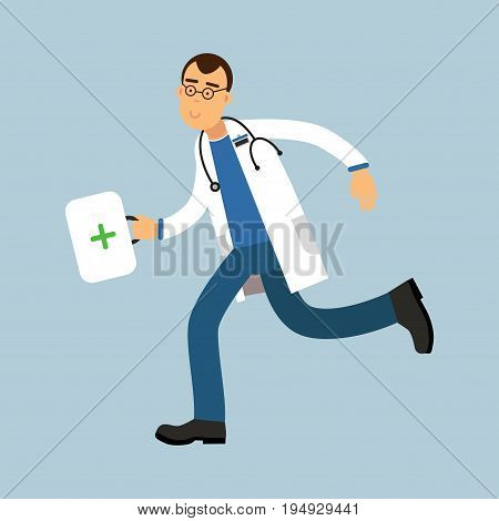 Male doctor paramedic character running with first aid box, medical care vector Illustration on a light blue background