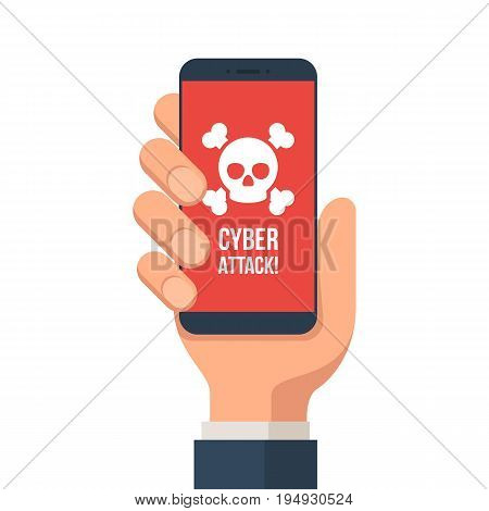 Hand holding smartphone with a warning message of a Cyber-attack on the screen. Cyber crime, virus, hacked concep. Vector illustration in flat style isolated on white background