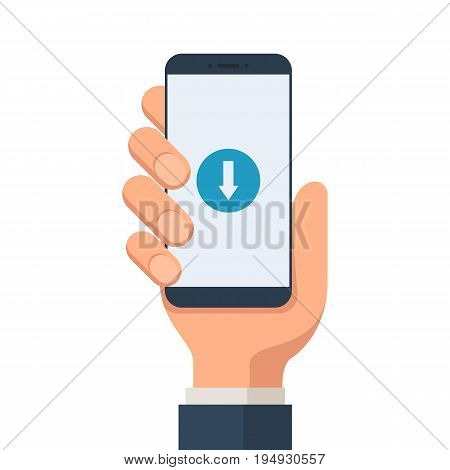 Hand holding a smartphone with the download symbol on the screen. Download mobile concept. Vector illustration in flat style isolated on white background