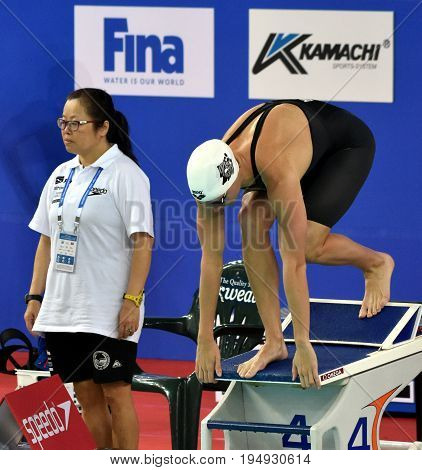 Hong Kong China - Oct 30 2016. Competitive swimmer Katinka HOSSZU (HUN) at the start of the Women's Freestyle 400m Preliminary Heat. FINA Swimming World Cup Victoria Park Swimming Pool.