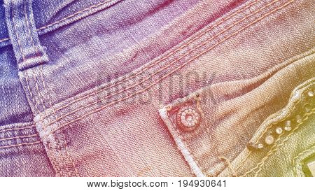 Denim jeans fabric texture background with seam studs and pocket for beauty, fashion and clothing concept design. Color effect picture.